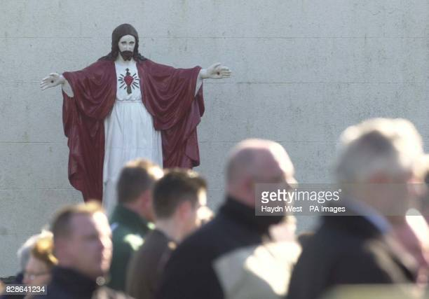 Mourners at the Sacred Heart Church Crossmaglen South Armagh Northern Ireland attending the funeral of nationalist volunteer Keith Rogers who was...