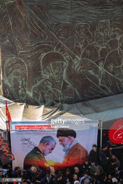 Mourners attend a funeral ceremony of Iranian Major General Qassem Soleimani and others who were killed in Iraq by a US drone strike on January 6...
