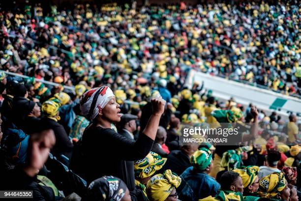 Mourners attend a memorial service for late South African anti-apartheid campaigner Winnie Madikizela-Mandela, ex-wife of former South African...