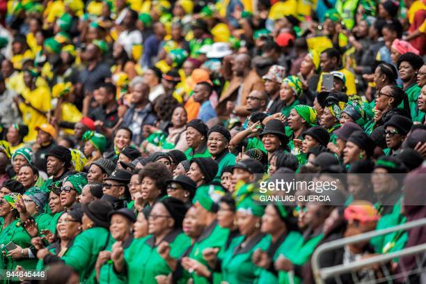 Mourners attend a memorial service for late South African antiapartheid campaigner Winnie MadikizelaMandela exwife of former South African president...