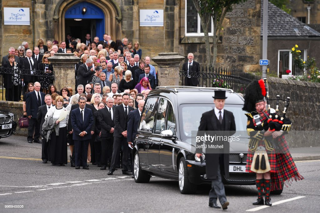 Mourners attend the funeral of Bay City Roller guitarist Alan Longmuir attends his funeral at Allan Church on July 12, 2018 in Bannockburn, Scotland. The seventy year old Edinburgh born musician and a founding member of the Bay City Rollers, died at Forth Valley Hospital in Larbert.