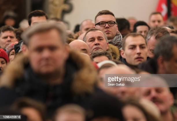 Mourners attend the funeral of murdered Gdansk mayor Pawel Adamowicz in the Basilica of Saint Mary on January 19 2019 in Gdansk Poland Adamowicz was...