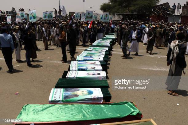 Mourners attend the funeral procession for those killed in an airstrike on a bus carried out last week by a warplane of the Saudi Arabialed coalition...