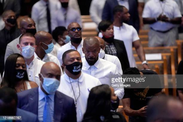 Mourners attend the funeral service for George Floyd in the chapel at the Fountain of Praise church June 9 2020 in Houston Texas Floyd died May 25...