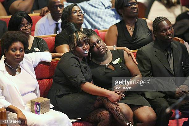Mourners attend the funeral service of Ethel Lance at Royal Missionary Baptist Church she was one of nine victims of a mass shooting at the Emanuel...