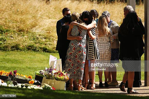 Mourners attend the memorial to the victims of the July 7 2005 London bombings in Hyde Park on July 7 2015 in London England Today is the tenth...