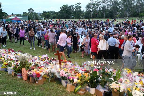 Mourners during a vigil to remember murdered mother Hannah Clarke and her three children at Bill Hewitt Reserve in Camp Hill on February 23 2020 in...