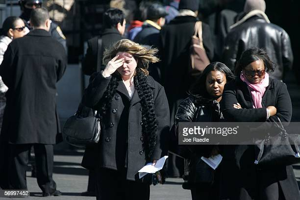 Mourners exit the Gormley Funeral Home after attending the funeral service for John Jay graduate student Imette St Guillen March 4 2006 in Boston...
