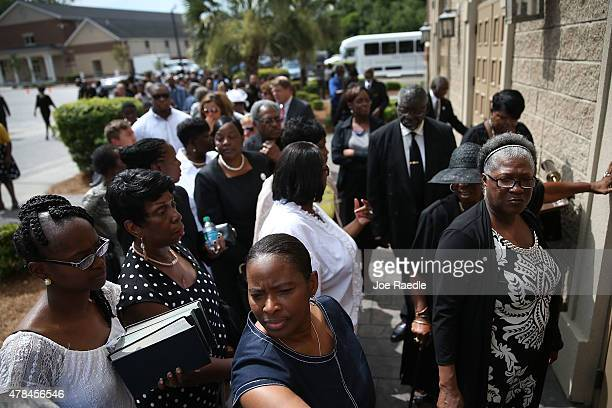 Mourners file into the funeral service of Ethel Lance at Royal Missionary Baptist Church who was one of nine victims of a mass shooting at the...