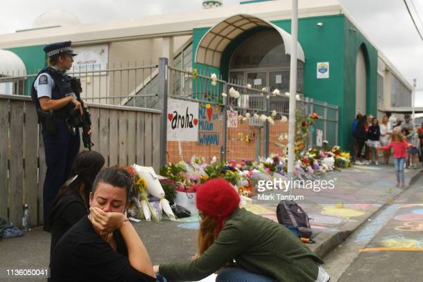 Mourners gather at a Mosque in Kilbirnie Wellington on March 16 2019 in Kilbirnie New Zealand At least 49 people are confirmed dead with more than 40...