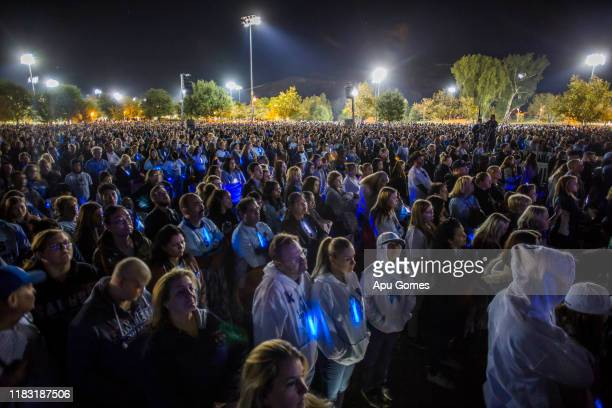 Mourners gather at a vigil held for shooting victims on November 17 2019 in Santa Clarita California Nathaniel T Berhow a 16 yearoldstudent died from...