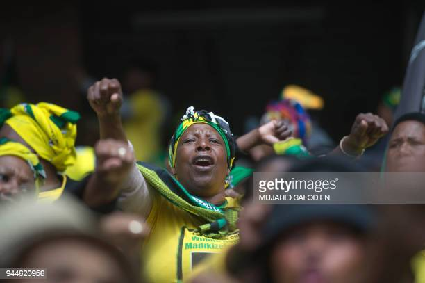 Mourners gather at the Orlando Stadium in Soweto, outside Johannesburg, on April 11, 2018 during a memorial service for late South African...