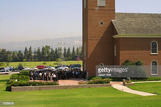 Mourners gather for the funeral services of Matthew Ansara the son of actress Barbara Eden July 2 2001 in Hollywood CA Matthew Michael Ansara was...