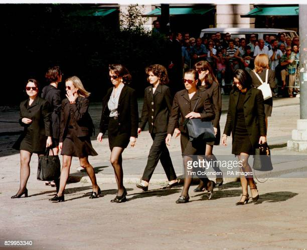 Mourners gather for the memorial service for the murdered fashion designer Gianni Versace who was shot dead outside his Florida home The service was...