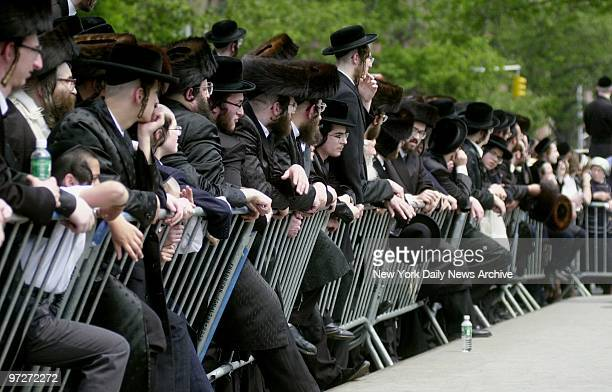 Mourners gather in front of 78 Wilson St in Williamsburg Brooklyn after deaths of granddaughter and greatgranddaughter of Hasidic spiritual leader...
