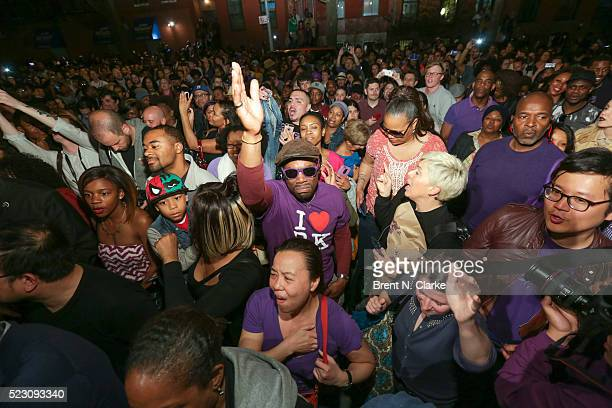 Mourners gather in front of director Spike Lee's production company headquarters for 'PRINCE We Love You Shockadelica Joint A Celebration of His...