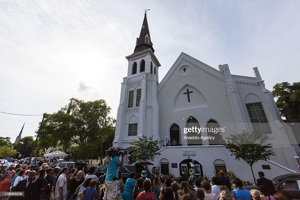 Reverend Clementa Pinckney Viewing at Emanuel AME Church : News Photo