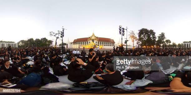Mourners gather near the Royal Crematorium ahead of the cremation of the late King Bhumibol Adulyadej in Bangkok Thailand's King Bhumibol Adulyadej...