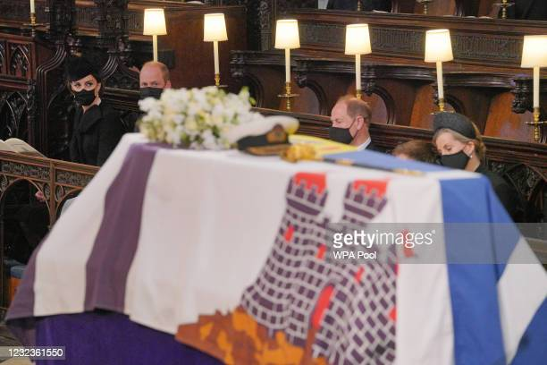 Mourners, including Catherine, Duchess of Cambridge, Prince William, Duke of Cambridge, Prince Edward, Earl of Wessex and Sophie, Countess of Wessex...