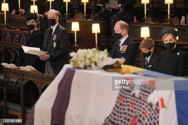 Mourners, including Catherine, Duchess of Cambridge, Prince William, Duke of Cambridge, Prince Edward, Earl of Wessex, James, Viscount Severn and...