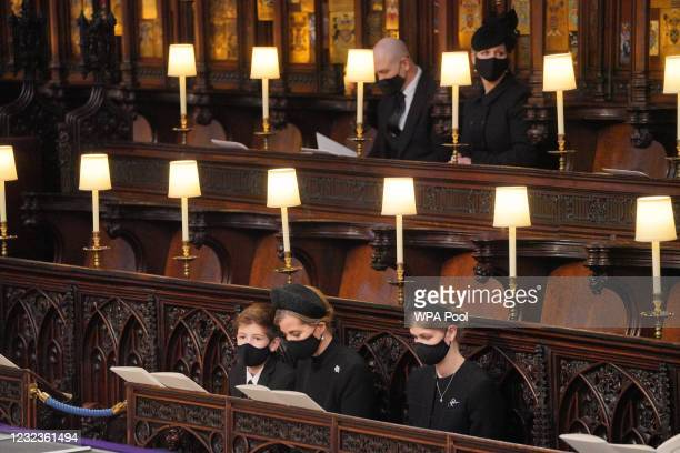 Mourners, including James, Viscount Severn, Sophie, Countess of Wessex, and Lady Louise Windsor, Zara Tindall and Mike Tindall wait for the arrival...