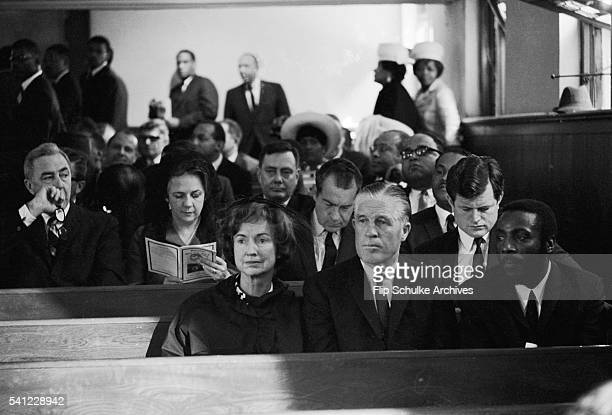 Mourners including Ted Kennedy and Richard Nixon listen to the services at Martin Luther King Jr's funeral