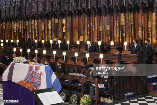 Mourners, including the Duchess of Cambridge, the Duke of Cambridge, the Earl of Wessex, Viscount Severn, Lady Louise Mountbatten-Windsor, the...