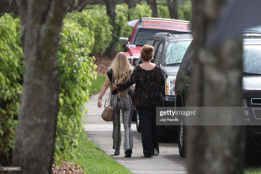 Mourners leave after the funeral of Aaron Feis who was the football coach at Marjory Stoneman Douglas High School at Church by the Glades on February 22, 2018 in Coral Springs, Florida. Mr. Feis was killed along with 16 other students and teachers by 19 year old former student Nikolas Cruz at the high school on February 14th.