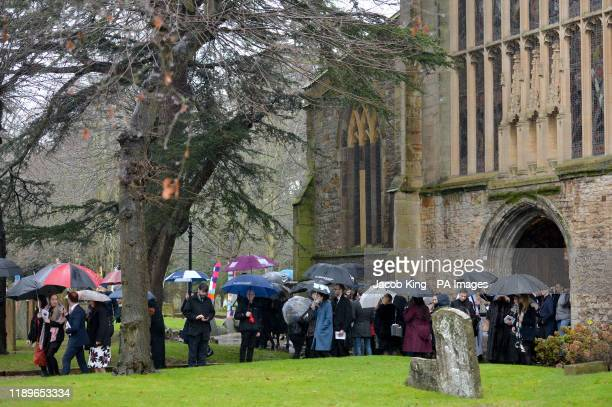 Mourners leave the memorial service of London Bridge terror attack victim Saskia Jones held at Holy Trinity Church in StratforduponAvon