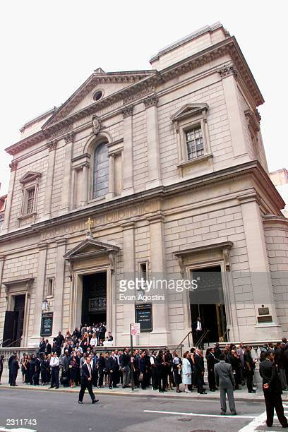 Mourners leaving R B singer Aaliyah's memorial service at St Ignatius Loyola Roman Catholic Church in New York City 8/31/2001 Photo Evan...