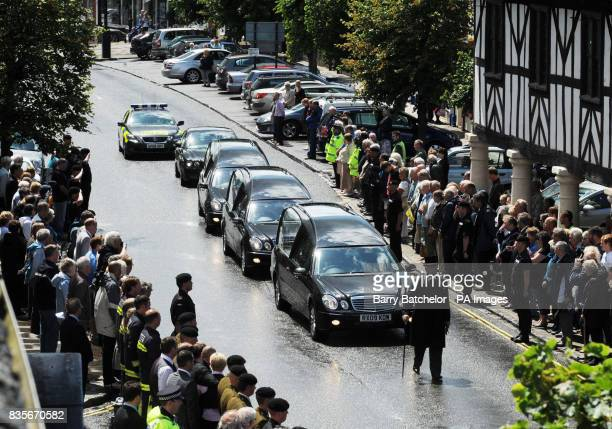 Mourners line the streets as the coffins of Trooper Joshua Hammond 18 and Lieutenant Colonel Rupert Thorneloe are slowly driven through the town of...