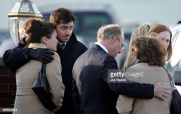 Mourners line up to pay their respects during a wake at the Gormley Funeral Home for Imette St Guillen on March 3 2006 in Boston Massachusetts Police...