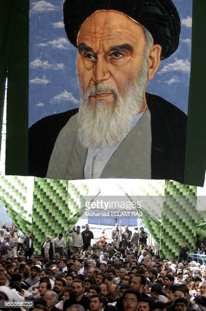 Mourners listening to the speech of Supreme Leader Ayatollah Khamenei during a ceremony to mark 16th anniversary of the death of late Leader...