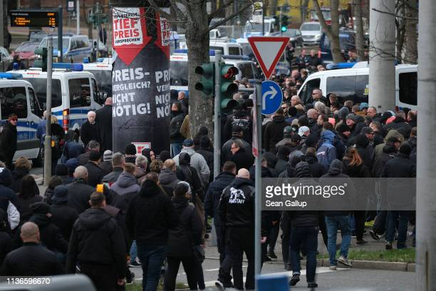 Mourners many of them from the Chemnitz football hooligan scene arrive for the funeral of local hooligan scene leader Thomas Heller on March 18 2019...