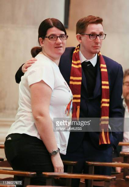 Mourners one wearing a Gryffindor scarf attend the funeral service of journalist Lyra McKee who was killed by a dissident republican paramilitary in...