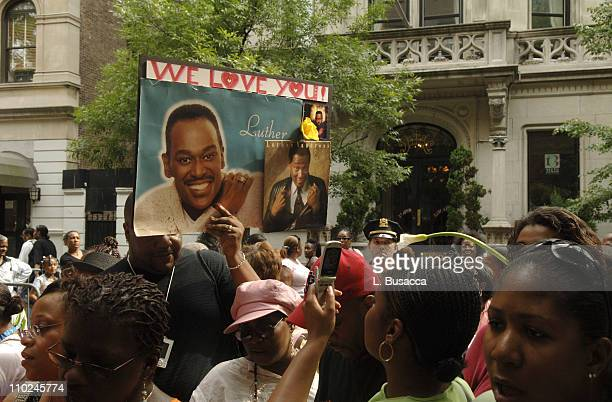 Mourners Outside Chapel during Luther Vandross Memorial July 6 2005 at Frank E Campbell Funeral Chapel in New York City New York United States