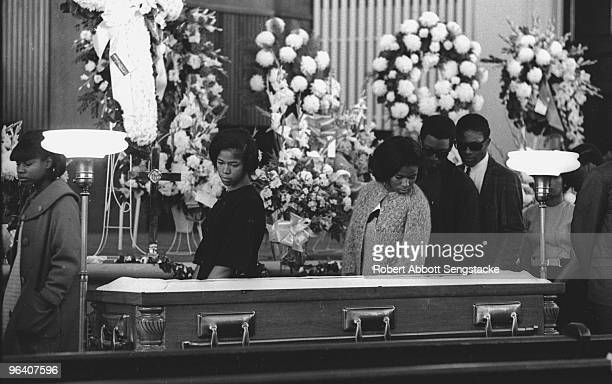 Mourners pay their final respects as the body of assassinated American Civil Rights leader Dr Martin Luther King Jr lies in repose at Sisters Chapel...