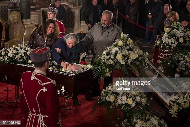 Mourners pay their respects to Zhelyu Zhelev Bulgaria's first democratically elected president at Alexander Nevsky Cathedral in the capital Sofia He...