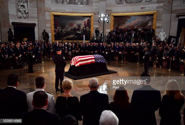 Mourners surround the casket of former Senator John McCain in the Capitol Rotunda where he will lie in state at the U.S. Capitol, on August 31, 2018...