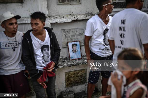 Mourners take part in the funeral of Jerome Dacanay who was killed in a police drug sting operation in Calumpit Bulacan province Philippines February...
