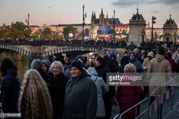 Mourners wait to pay their last respects to the late Czech singer Karel Gott in Prague Czech Republic 11 October 2019 Karel Gott passed away last...