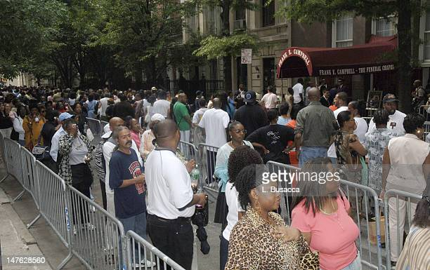 Mourners Waiting To Pay Respects Outside Chapel during Luther Vandross Memorial July 6 2005 at Frank E Campbell Funeral Chapel in New York City New...