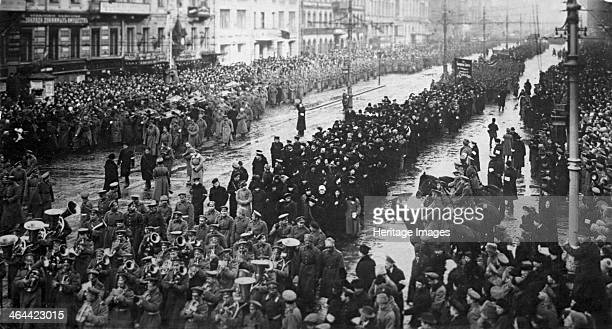 A mourning ceremony for victims of the February Revolution Russia 5 April 1917 The February Revolution led to the abdication of Tsar Nicholas II and...