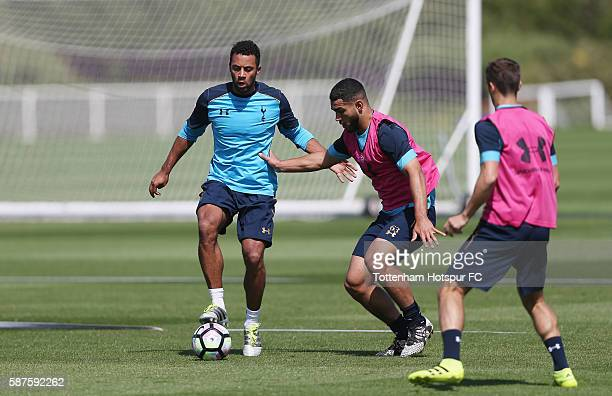 Mousa Dembele and Cameron CarterVickers during the Tottenham Hotspur training session on August 9 2016 in Enfield England