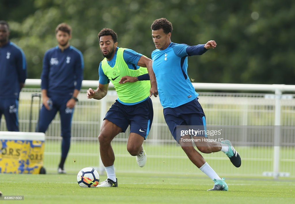 Mousa Dembele and Dele Alli of Tottenham during the Tottenham Hotspur training session at Tottenham Hotspur Training Centre on August 17, 2017 in Enfield, England.