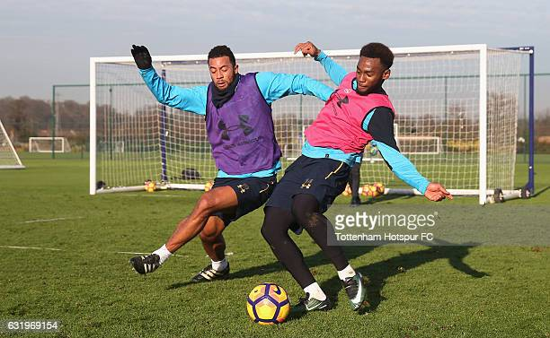 Mousa Dembele and Georges-Kévin N'Koudou of Tottenham during the Tottenham Hotspur training session at Tottenham Hotspur Training Centre on January...