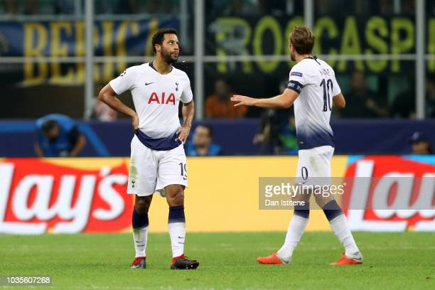 Mousa Dembele and Harry Kane of Tottenham Hotspur look dejected as Mauro Icardi of Inter Milan scores his team's first goal during the Group B match...