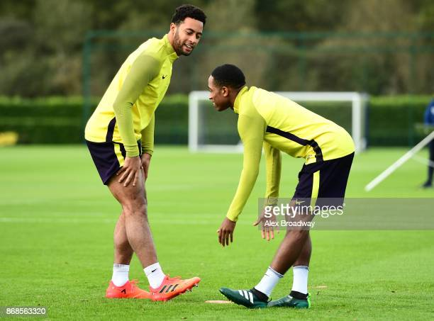 Mousa Dembele and Kyle WalkerPeters of Tottenham Hotspur train during a Tottenham Hotspur training session ahead of their UEFA Champions League Group...
