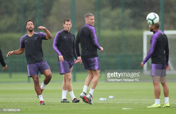 Mousa Dembele Jan Vertonghen and Toby Alderweireld of Tottenham Hotspur during the Tottenham Hotspur training session at Tottenham Hotspur Training...
