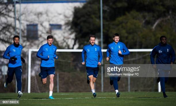 Mousa Dembele Jan Vertonghen Christian Eriksen and Eric Dier of Tottenham Hotspur run during a training session during day one of the Tottenham...